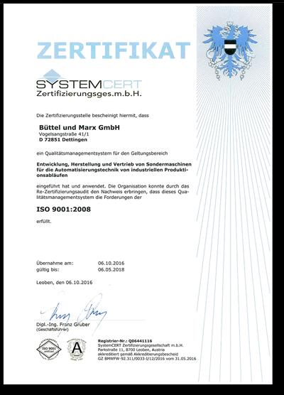 Zertifikat SYSTEMCERT AUSTRIA
